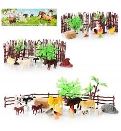 Животные 2C214-1-2-216-3 (144шт) домашние, 4шт, забор, деревья, 3 вида, в кульке, 21-20-5см