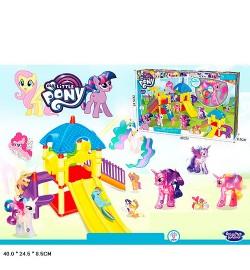 Набор игровой 1084 (18шт) LP,детская площадка,лошадка,свет,3вида,на бат(табл),в кор-ке, 40-25-9см
