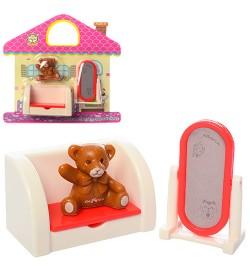 Мебель HY-065B (144шт) кроватка, фигурка 3см, в слюде, 16-15-3,5см
