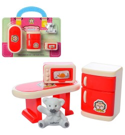 Мебель HY-066B (120шт) столик, холодильник, фигурка 3см, в слюде, 17-15-4см