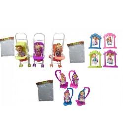 Кукла маленькая L2015-84/5/6 (360шт/2) 12 видов: с качелькой,кроваткой,коляской, в пак 8*15*10см