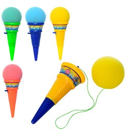 Игра  015S (288шт) мороженое, шарик на запускалка, микс цветов, в кульке, 6-6-17,5см
