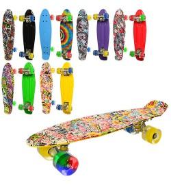 Скейт MS 0748-6 (6шт) пенни,56.5.-14,5см,пласт-антисколь,алюм.подвес,колесПУ,св,подшABCE-7,6цв,разо