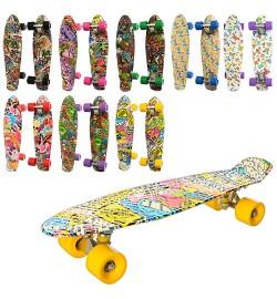 Скейт MS 0748-4 (8шт) пенни,57-15см,алюм.подвеска,колесаПУ,подшABEC-7,принт,разобр,8видов