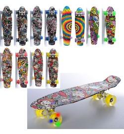 Скейт MS 0748-5 (6шт) пенни,56,5-15см,алюм.подвеска,колесаПУсвет,подшABEC-7,фотопринт,8вид,в кульке