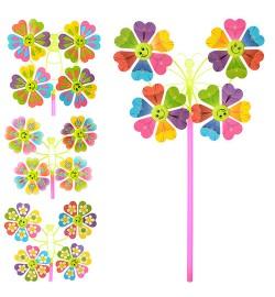 Ветрячок M 0809 (200шт) вертушка,разм мал,цветок,диам.22,5см,палоч28см,микс видов,в кульке,16-16-2с