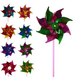 Ветрячок M 3718 (500шт) размер маленький, диам.19см,палочка30см,цветок,фольга,10цветов