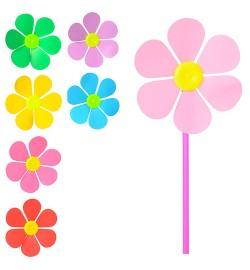 Ветрячок M 3724 (400шт) размер маленький, диам.15см,палочка28см,цветок,7цветов,