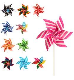 Ветрячок M 3725 (400шт) размер средний, диам.21см,палочка21см,пласт,цветок,микс видов,