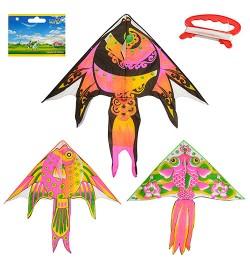 Воздушный змей M 2602 (100шт) 137см, длина 130см, рыбка, 3 вида, в кульке, 8,5-90-2см
