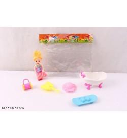 Кукла маленькая 689-2 (360шт/2) ванночка,скейтборд,сумка,шляпа в пак.10*5*6 см