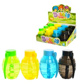 Мыльные пузыри 1090 (216шт) бутылочка-граната, 9см, 12шт(4цвета) в дисплее, 24-18-10см