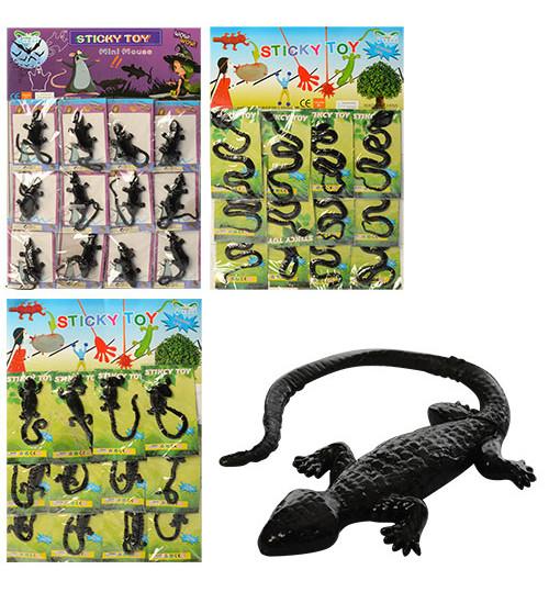 Игра-липучка 1102-8901 (1200шт) от18см,тянется,лизун (змея,мышь,ящерица),12шт на листе,29-43-1,5с
