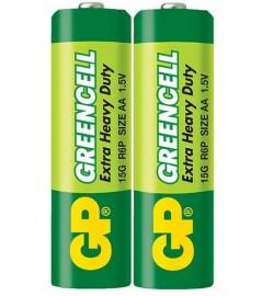 Батарейки GP  15G-S2  Greencell R6, AA, трей 2/40 цена за 2 шт.