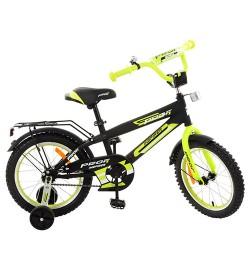 Велосипед детский PROF1 16д. G1651 (1шт) Inspirer,черно-салат(мат),звонок,доп.колеса