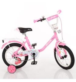 Велосипед детский PROF1 14д. Y1481 (1шт) Flower, розовый,звонок,доп.колеса