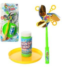Мыльные пузыри 8860 (72шт) игра, ветрячок, запаска 80мл, 2 цвета, на листе,18-37,5-6см
