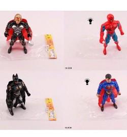 Супергерой 1134BCEF (360шт) 18см, 4вида(СП,AV,BM), свет, на бат(таб), в кульке,9-18-3см