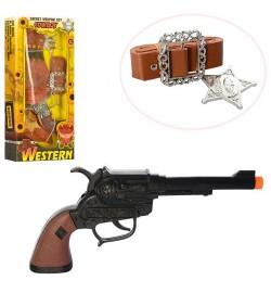 Набор ковбоя 2888-2304 (72шт) пистолет 23см, кобура, ремень, 2вида, в кор-ке, 14-29,5-4см
