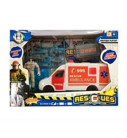 Набор спасателей 999B-3A (36шт) машинка(скорая помощь),17см, фигурка10см, аксесс,в кор-ке, 25-18-7с