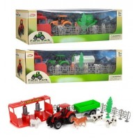 Ферма FC17-25-26-27 (48шт) трактор с прицепом(металл),18см,строение,животн,3в,в кор,32,5-10,5-14,5с