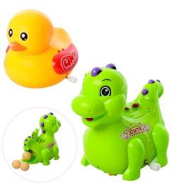 Заводная игрушка 823C-5C (144шт) 11см,ездит,несет яйца,яйцо3шт,2вид(утка,динозавр),в кул,14,5-16-7с