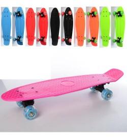 Скейт MS 0847-1 (6шт) пенни,56,5-15см,антискольз,пласт.подв,колесаПВХсвет,подш608Z,разобр,6цв