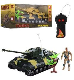Танк AKX523A (36шт) р/у,25см,фигурка9см,рез.колеса,2цвета,на бат-ке,в кор-ке, 28-13-12см