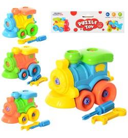 Конструктор 88602 (168шт) паровозик, на шурупах, 14-10-11см, гаеч.ключ, 4 цвета, кульке, 18-17-10см