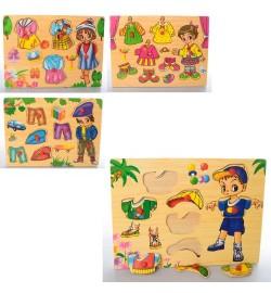 Деревянная игрушка Рамка-вкладыш MD 1305 (72шт) с ручкой, 4 вида(гардероб), в кульке,29,5-21,5-1,5с