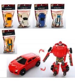 Трансформер 668-10 (384шт) 10,5см, робот+машинка, микс видов, в кульке, 10,5-17-3см