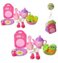 Посуда 2715B (96шт) чайный сервиз, досточка, корзина, продукты, 2вида, в сетке, 15-14-7см