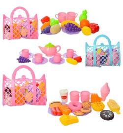 Продукты 669-1-2-3 (72шт) 3 вида(овощи,фрукты/сладости,фастфуд), в сумке(корзинка), 22-19,5-7,5см