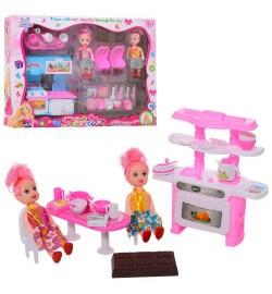Мебель 1100-4-5 (60шт) кухня, посуда, стол, стулья, кукла2шт, 10см, 2вида, в кор-ке, 35-25-6,5см