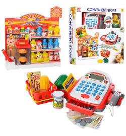 Магазин 6615 (12шт) касса22см,корзин,продукты,калькулятор,сканер,зв,св,на бат-ке,в кор,39-39-10см