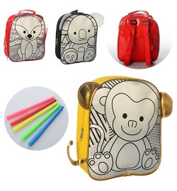 Рюкзак MK 0647-1 (40шт) раскраска,28-23-8см,ушки,1отд,застежка-молния,фломаст5шт,3вида,в кульке,