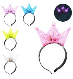 Аксессуары для праздника MK 2077 (240шт) обруч для волос, корона, свет, 5цв, на бат(таб), в кульке