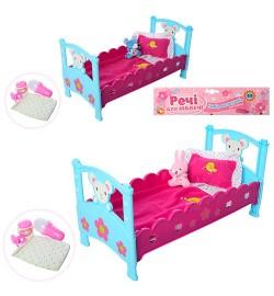 Кроватка M 3836-07 (30шт) для пупса,40см,постель,подгуз,бутылоч,соска, игрушка,2вид,в куль,27-50-7с