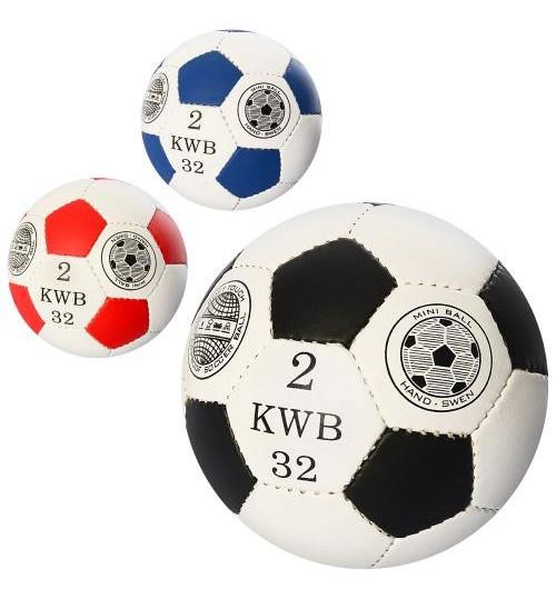 Мяч футбольный OFFICIAL 2502-20 (100шт) размер2,ПУ,1,4мм,32панели,ручн.работа,110-130г,3цв,в кульке