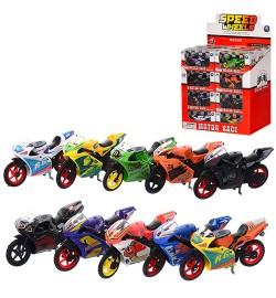 Мотоцикл XY028 (288шт) металл, 8,5см, 24шт(микс цветов) в дисплее, 26-25-16см