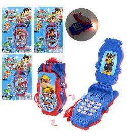 Телефон 854-1D-1G-6B-7B (240шт) ЩП, 10см,4вида, муз,зв, св,на бат-ке,на листе,17-11-3см
