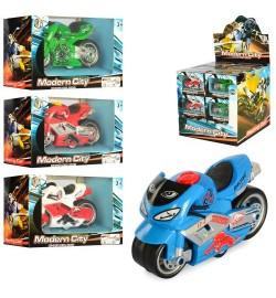 Мотоцикл 8618-24 (144шт) металл, инер-й, 8,5см,в  кор-ке, 24шт(4цвета) в дисплее, 25-24-23см