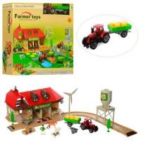 Ферма 2018-2 (16шт) трактор, строение, фигурка, животные, 48дет, в кор-ке,40-38-9см