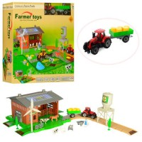 Ферма 2018-1 (16шт) трактор, строение, фигурка, животные, 48дет, в кор-ке,40-38-9см