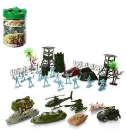 Комбат 6826B (72шт) военная техника, 8шт, солдатики, сооружение, деревья, в колбе, 13-19,5-13см