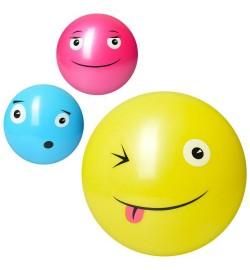 Мяч детский MS 1975 (100шт) 10см, смайл, микс цветов, 40г, в кульке