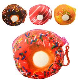 Кошелек x12274 (300шт) пончик, брелок, застежка-молния, плюш, 6видов, 12-12-1см