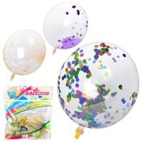 Шарики надувные MK 1101 (100шт) 12дюймов, мишура, 3 вида, 5шт в кульке, 13-12-2см