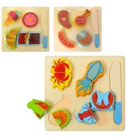 Деревянная игрушка Продукты MD 1334 (100шт) пазлы 4шт, на липучке, 3вида, в кульке, 18-18-2см