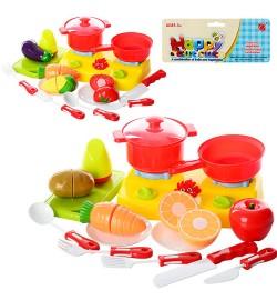Продукты 666-29-30 (60шт) на липучке, посуда, плита, досточка, 2 вида, в кульке, 19-35-7см